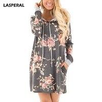 LASPERAL 2017 Autumn Hooded Long Sleeve Dresses Women Casual Floral Printing Dress Female Fashion Ukraine Vestidos