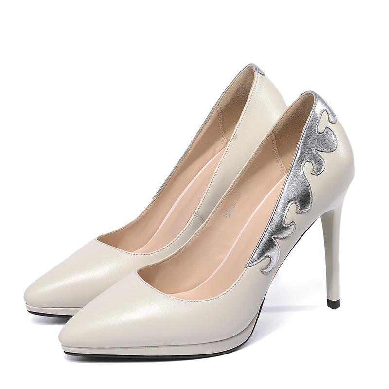 Profonde Mince Pompes Talons Bout 2019 Plate Femmes Pointu Beige Femme Printemps Isnom Haute Cuir noir Nouveau En Chaussures forme Véritable Peu qxzd4nw