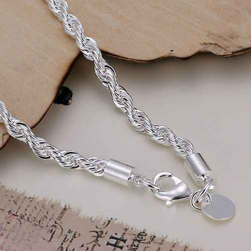 KN-H207 Wholesale silver plated bracelet for woman man's 925 Free shipping Factory price fashion jewelry Twisted Line Bracelet