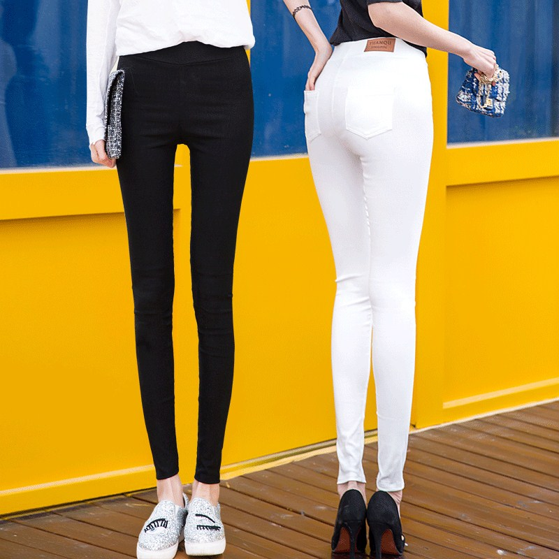 WKOUD Regular   Leggings   For Women Black White Skinny Slim Fitness   Leggings   Stretch Korean Pencil Pants Female Trousers P8747