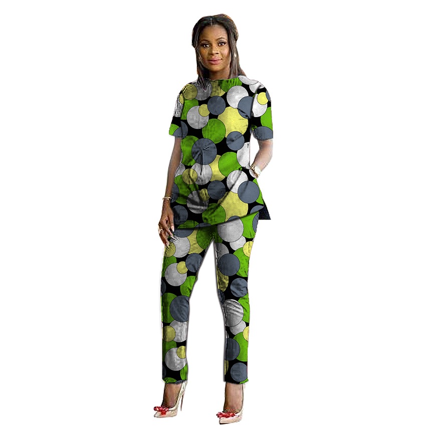 Women Sets Ankara Clothing African Print Short Sleeve Tops And Long Pants Ankara Wedding Wear 2 Pieces Set Plus Size