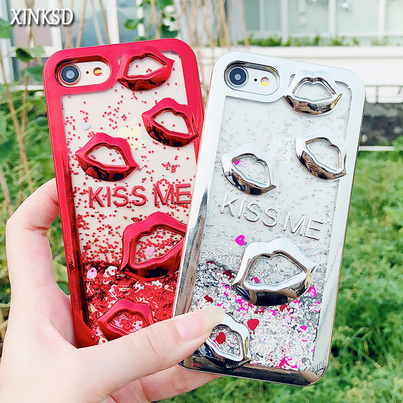 For iphone 6 6S X 7 8 plus lips Dynamic Liquid Quicksand Electroplate Phone Cases For iphone 7 plus Case for iphone 8 Back Cover