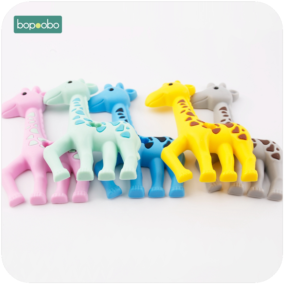 Bopoobo Giraffe Cute Animal Silicone Baby Teether Food Grade Materials BPA Free 5pc Silicone Can Chew Toy Teething Accessor