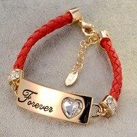 Handgemaakte fijne rode lederen armband paar hart armband/2015 nieuwe koreaanse luxe sieraden/pulseiras particuliere/bijoux femme/pulseras