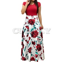 CUERLY Women Floral Print Summer Long Maxi Dress 2019 Casual Short Sleeve Boho Beach Sexy Patchwork Party Verano