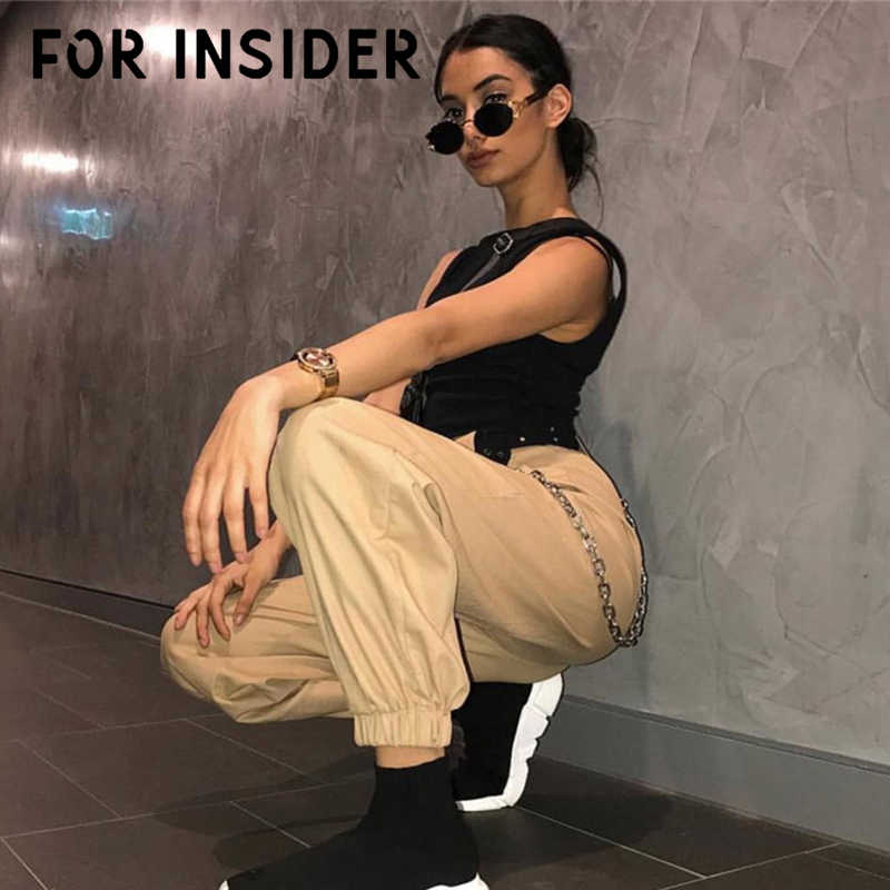 For Insider Khaki chain harem casual pants women High waist black hip pop pants long Loose white cargo female trousers autumn