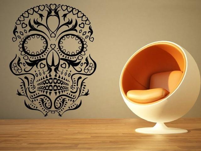 Creative Skull Vinyl Wall Decal Halloween Sugar Skull Death Mural ...