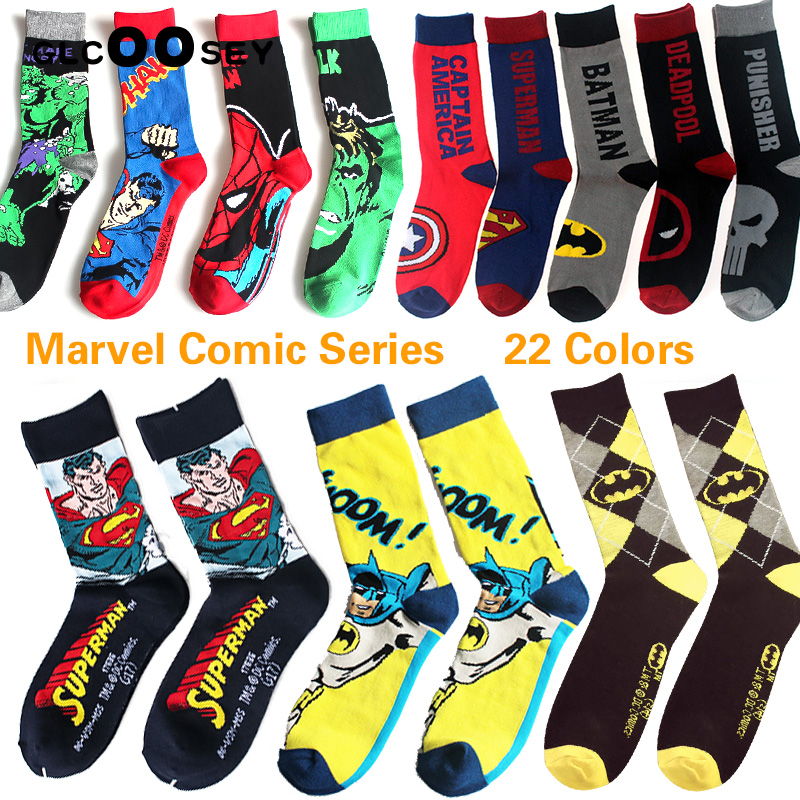 22 Style Marvel Comics Hero General Socks Cartoon Iron Man Spiderman Superman Batman Captain America Child Men Gifts Ankle Socks