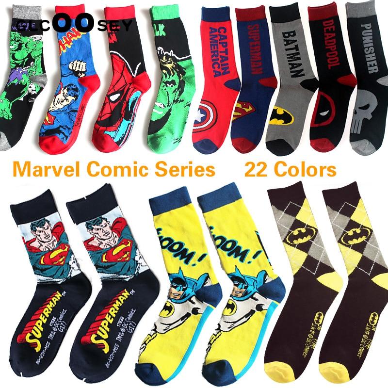 22 Style Marvel Comics Hero General Socks Cartoon Iron Man Spiderman Superman Batman Captain America Child Men Gifts Ankle Socks