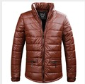 HOT Men's winter New thicken cotton coat PU leather padded jacket Korean version casual men's jacket plus size clothing