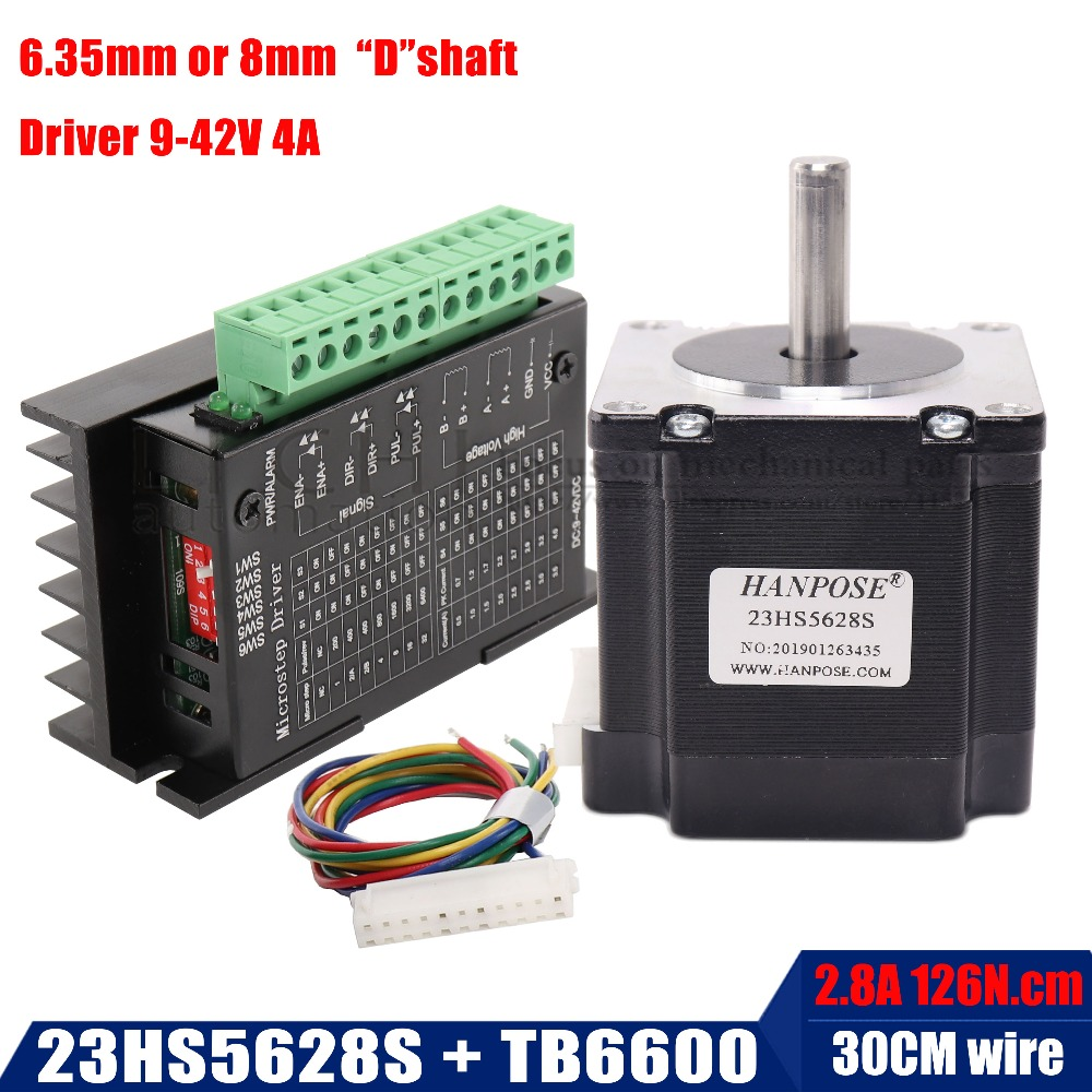 Free shipping Nema 23 23HS5628 Stepper Motor 57 motor 2.8A with TB6600 stepper motor driver NEMA17 23 for CNC and 3D printerFree shipping Nema 23 23HS5628 Stepper Motor 57 motor 2.8A with TB6600 stepper motor driver NEMA17 23 for CNC and 3D printer