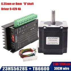 Gratis verzending Nema 23 23HS5628 Stappenmotor 57 motor 2.8A met TB6600 stappenmotor driver NEMA17 23 voor CNC en 3D printer