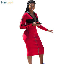 7a39134642f HAOYUAN Zip Hoodies Sweatshirt Sexy Dress Women Clothes Fall Winter New Long  Sleeve Bodycon Dresses Striped