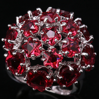 Magnificent Hydrangea Rosarot Puchsia Red Gems Garnet 925 Sterling Silver Trendy Jewelry Ring US# Size 6 / 7 / 8 / 9 S1442
