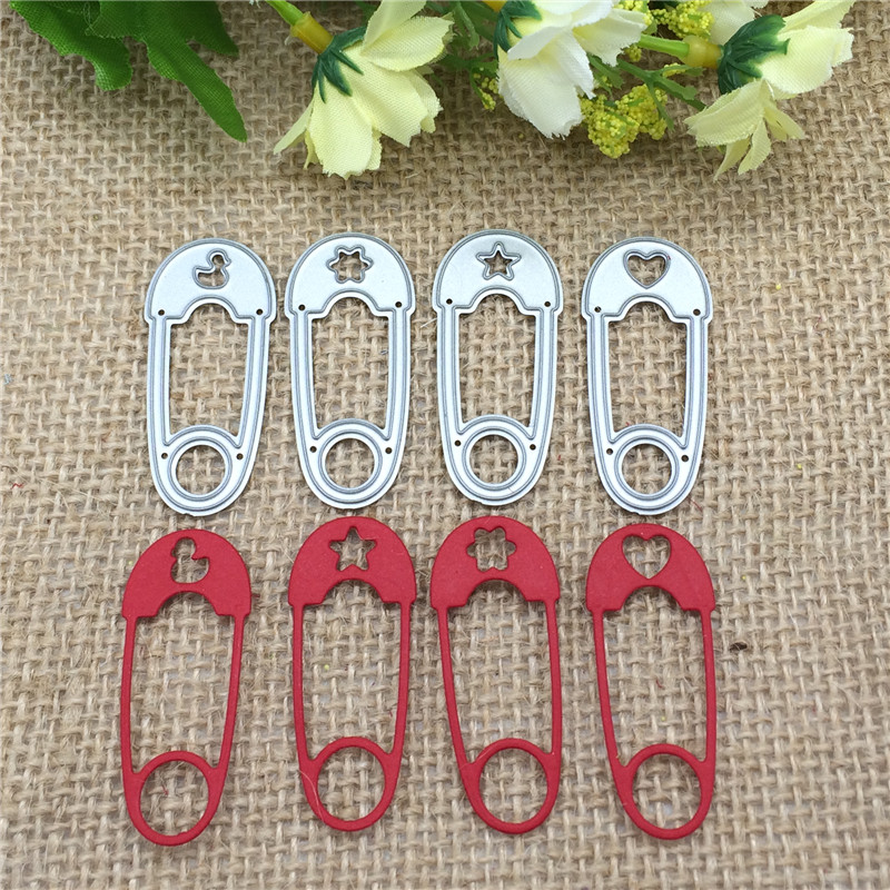 4pcs Safety Pin Metal Cutting Dies Stencil Scrapbooking Photo Album Card Paper Embossing Craft DIY