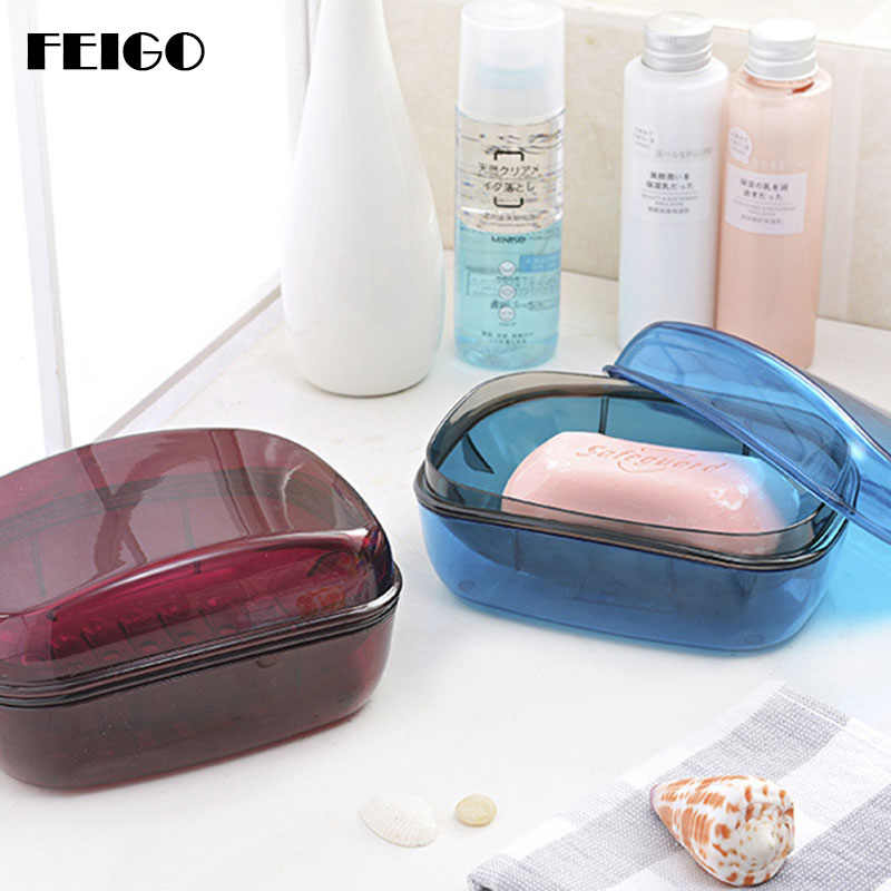 FEIGO 1Pcs High Quality Soap Storage Box Dish Bathroom Accessories Soap Box Case Holder with Cover Lid Water Leaking Design F622