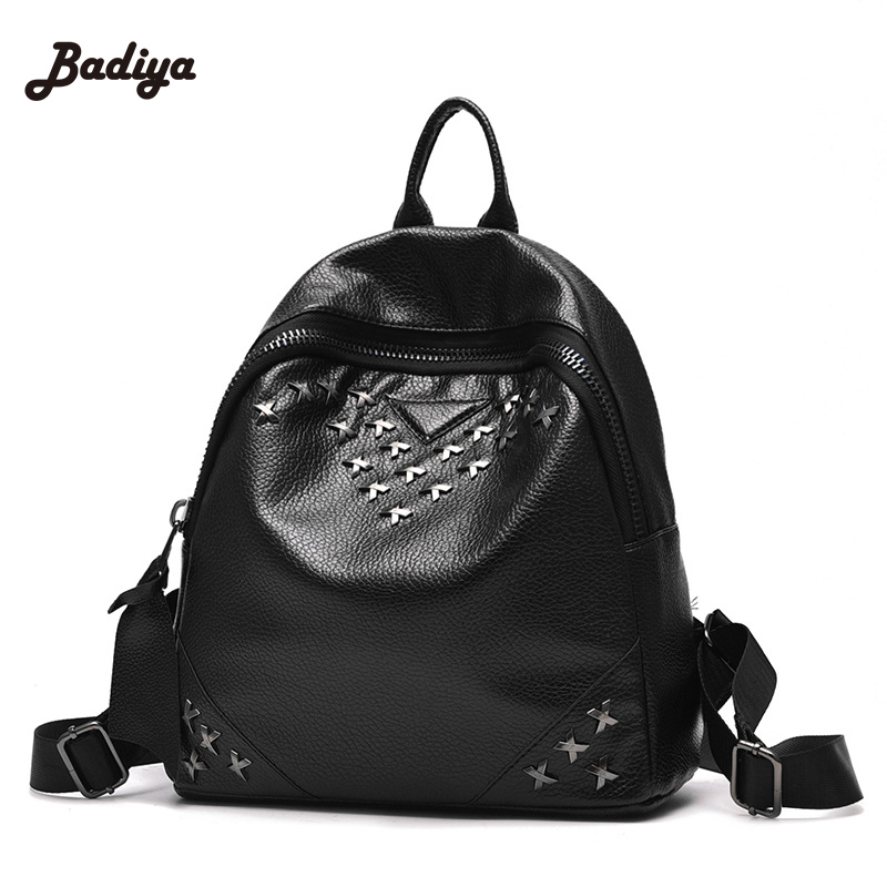 Vintage Casual Daily Backpacks Fashion Lovely Black PU Leather Women Backpack School Bag Female Travel Bags