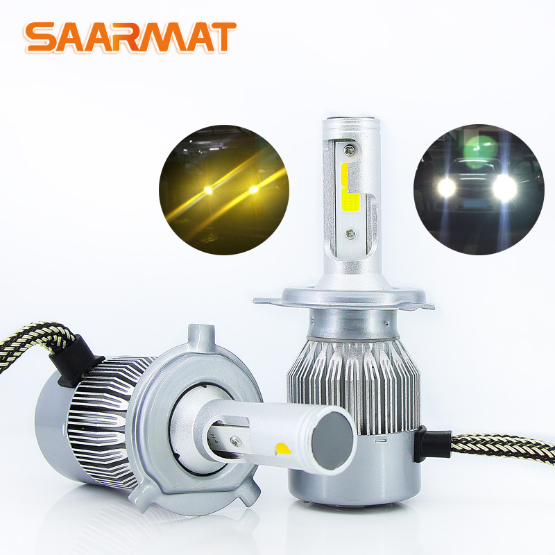 Pair Dual-Colors White Amber LED Headlight Bulb H1 H3 H4 9003 HB2 H7 H8 H9 H11 H16(JP) 9005 HB3 H10 9006 HB4 9012 HIR2 Fog light gztophid wiring harness extension h4 9003 hb2 light connector male to female for socket headlight fog light drl light