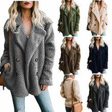 a99899b8623 Nuevo 2018 otoño de las mujeres de piel Shaggy Cordero abrigo Casual Shaggy  negro oso de peluche chaqueta mullida felpa de piel .