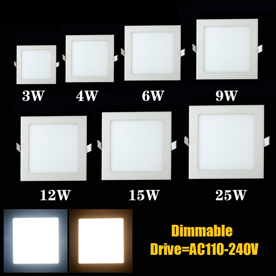 Dimmable LED Lighting Panel Light Square Panel Light 3w 4w 6w 9w 12w 15w 25w Ceiling Recessed Lamp Warm/natural/cool White