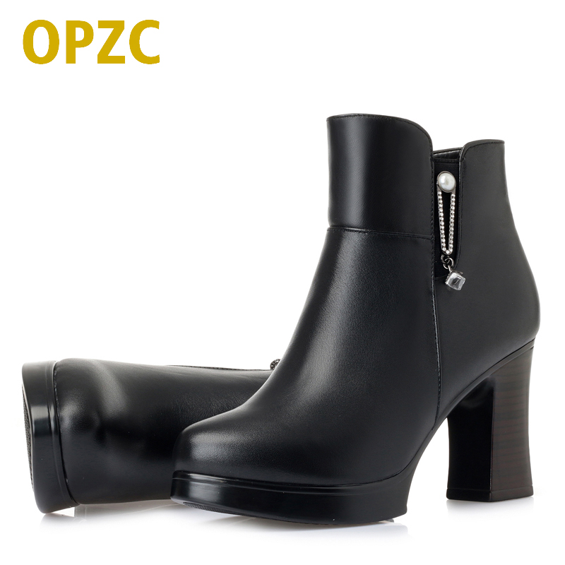 AIYUQI Female Martin Boots Winter 2019 New Genuine Leather Women Booties Thick Wool Warm Fashion High heeled Women Dress Boots in Ankle Boots from Shoes