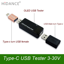 Type-c OLED 128×64 USB tester DC current  voltage voltmeter Power Bank battery Capacity monitor qc3.0 Phone charger Meters 3-30V