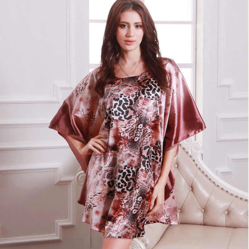 Summer Sexy Silk   Nightgown     Sleepshirts   Women Short Sleeves Plus Size Sleepwear Lounge Casual Satin Silky Nightwear Female