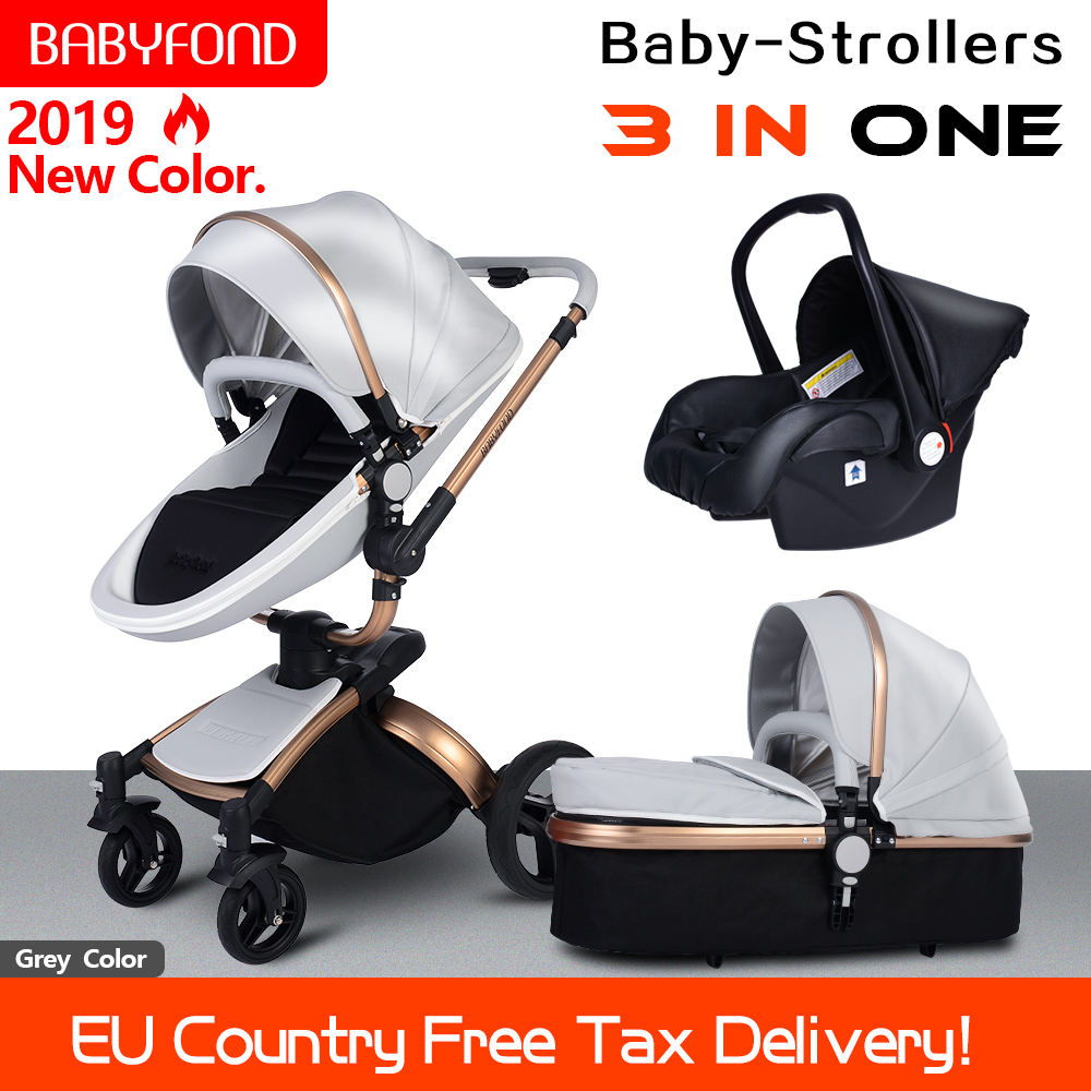 Fast shipping! 3 in 1 baby stroller folding two-way push luxury high landscape baby carriage with comfortable car seat babyfond belecoo 3 in 1 stroller high landscape with car set folding two way push baby carriage