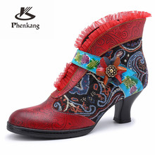 Frauen winter Stiefel Echte kuh Leder High heel Ankle Komfortable qualität weiche Schuhe Marke Designer Handmade red 2019 winter(China)