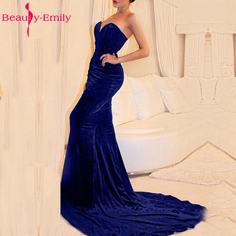 2016 Sexy Royal Blue Velvet Evening Dresses Mermaid Floor Length Sweetheart Backless Plus Size Formal Party