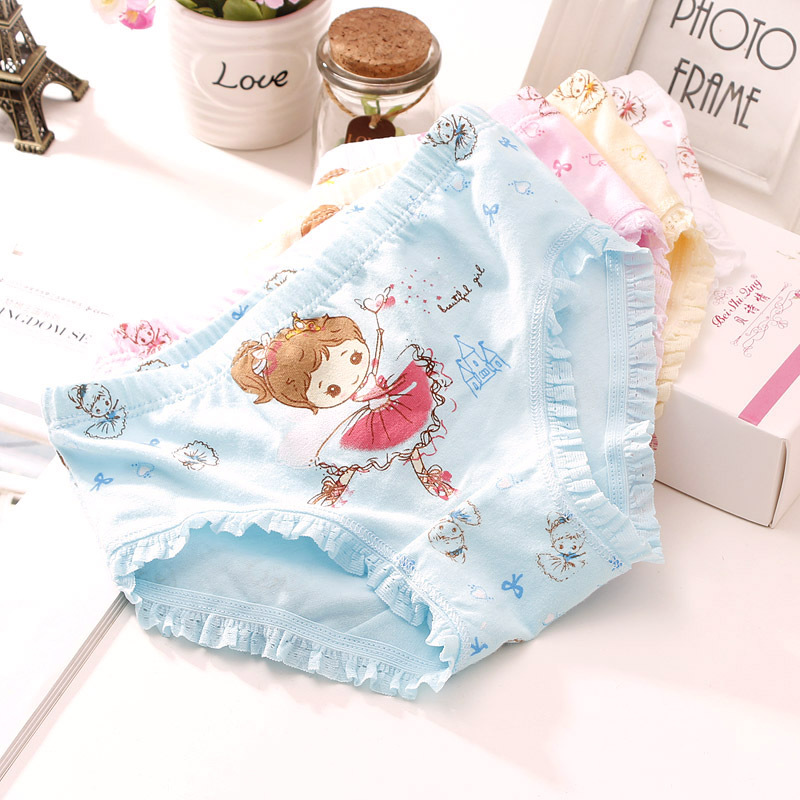 4pcs/ A Lot 3-9 Y Kids Underpants Cartoon Dance Girl Triangle Underwear Baby Cotton Underwear Panties for Shorts Nurseries Child