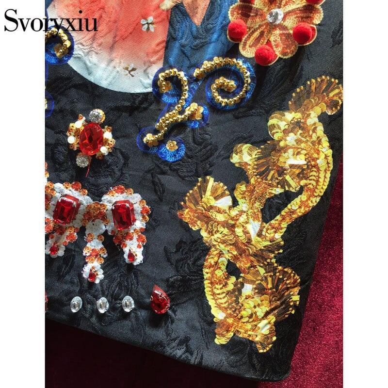 Svoryxiu Vintage noir Mini robe femmes sans manches luxueux diamants notre dame imprimer dames fête piste robe 2018 - 6