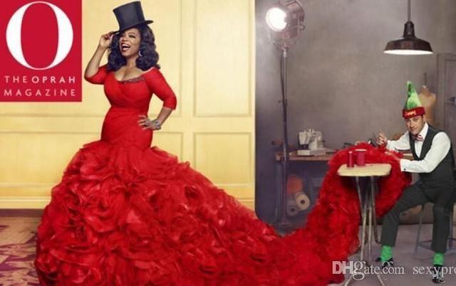 2017 Scoop Neckline Flouncing Ruffles Mermaid Prom Dresses Red Plus ...