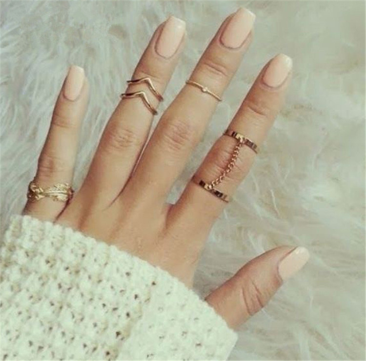 H: הייד 6 יח'\חבילה ייחודי מתכוונן טבעת סט פאנק סגנון זהב צבע Knuckle טבעות לנשים Midi אצבע Knuckle טבעות טבעת סט