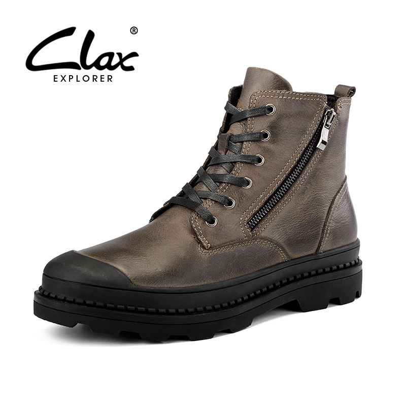 CLAX Men Boot Zipper Autumn High Shoes Genuine Leather Motorcycle Boots Male Winter Shoe Plush Fur Warm Casual Footwear Big Size