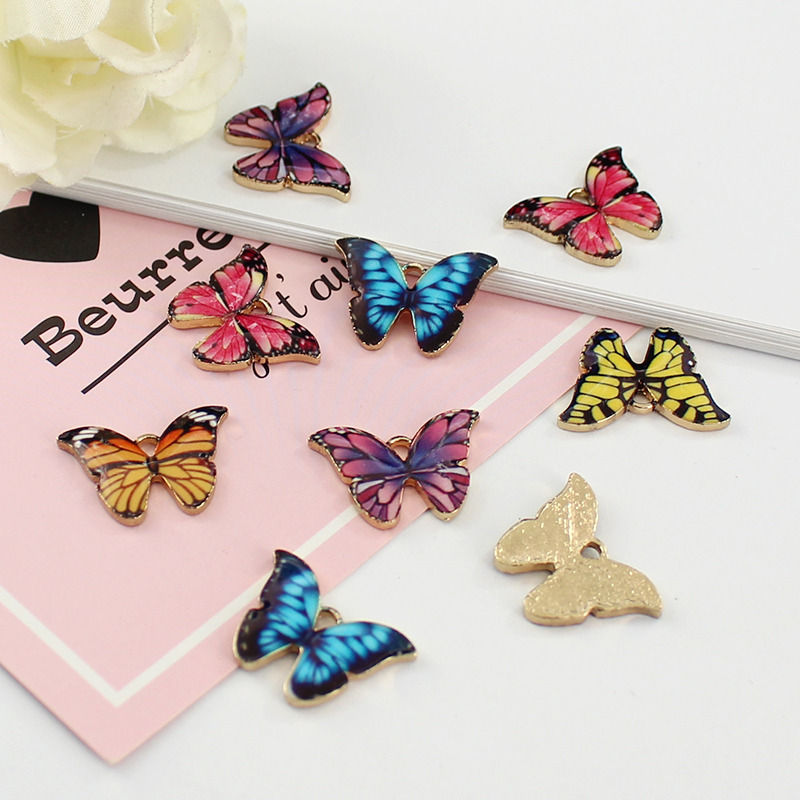 14PCS Pendants Colourful Enamel Butterfly Charm Small
