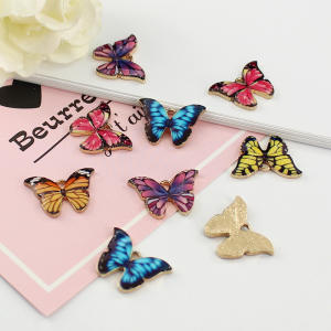 Butterfly Charm Pendants Jewellery-Supplies Animal-Findings Small Enamel DIY 14PCS Colourful