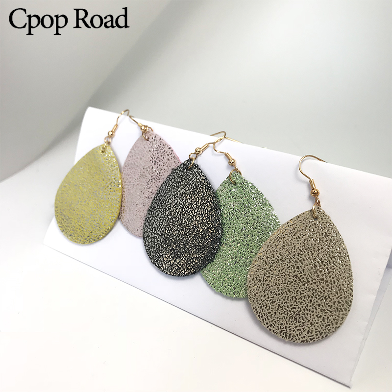 Cpop Shiny Fashion Genuine Leather Earrings for Women Glitter Pendant Water Drop Earrings Fashion Jewelry Modern Dangle Ear Drop in Drop Earrings from Jewelry Accessories