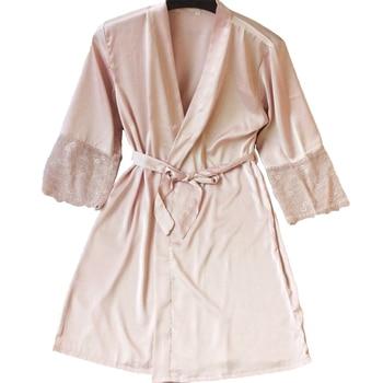 32a3eb251508c Сексуальные женские Кружево Satin Robe платье однотонные мягкие ночная  рубашка кимоно халат пижамы свадебные туфли невесты Халаты