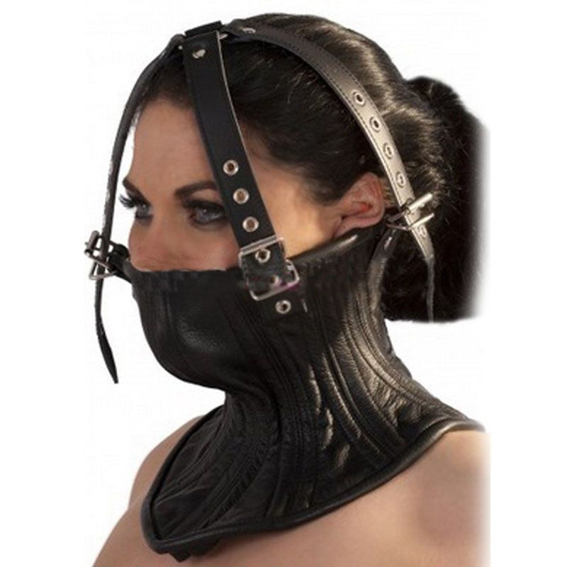 Synthetic Leather Half Face Mask Harness Posture Collar With Adjustable Belt Muzzle Erotic Toys Cosplay SM Bondage Restraint