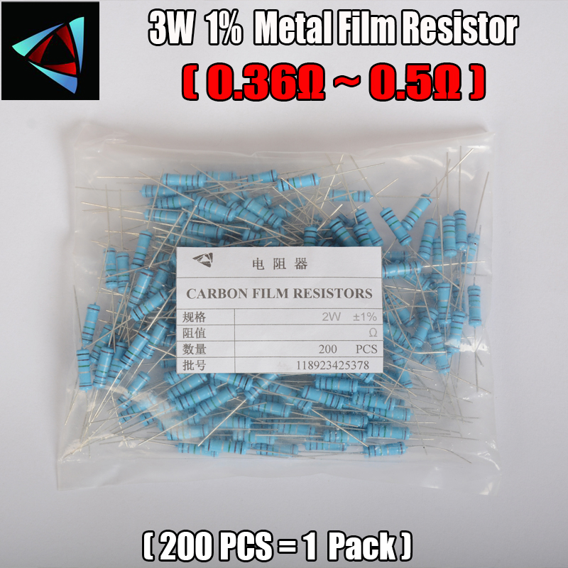 2W Watt 1 200pcs lot Metal Film Resistor 0 36 0 39 0 43 0 47