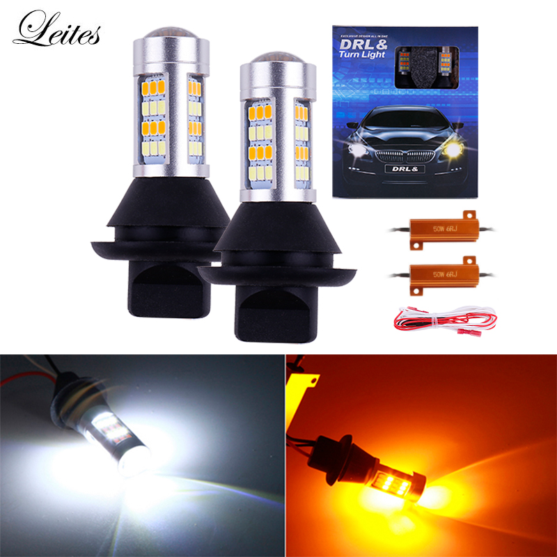 2x Canbus <font><b>LED</b></font> 1156 BA15S BAU15S P21W PY21W <font><b>LED</b></font> 42SMD <font><b>T20</b></font> <font><b>7440</b></font> W21W <font><b>LED</b></font> White Amber with Resistors Car Turn Signal Dual Mode DRL image