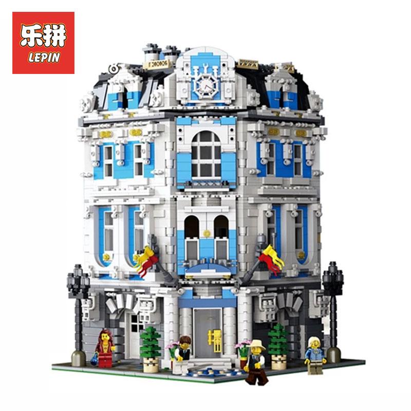 LEPIN 15018 3196 cs Creator City Series Sunshine hotel MOC Model Building Kits  Brick Toy Compatible LegoINGlys Christmas gifts