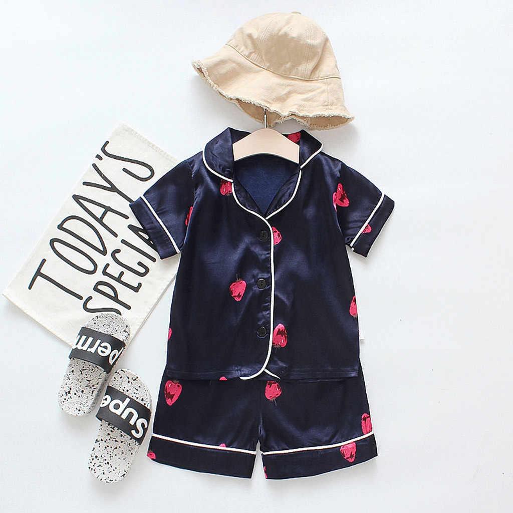 Одежда для сна с принтом клубники летняя Пижама рисунком маленьких мальчиков и