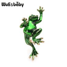 Wuli Baby Clic Green Frog Enamel Brooches For Women And Men Metal Animal S Scarf Hat Bag Accessories