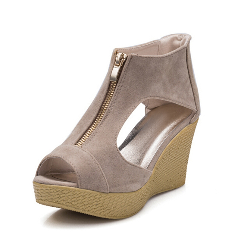 2016 New Women Gladiator Sandals Summer Style Classics Ladies Peep Toe Platform Wedges Solid Sexy Zip Casual Shoes Woman XWZ1505 phyanic 2017 gladiator sandals gold silver shoes woman summer platform wedges glitters creepers casual women shoes phy3323