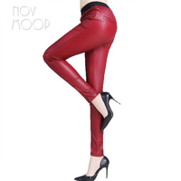 5 Colors Solid Genuine Leather Real Lambskin Skinny Pencil Pants Trousers Clothes Plus Size Broeken Ropa