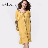 E Manco 2017 Europe And The United States Unique Pattern Embroidered Tassel Cardigan Long Sleeve Dress