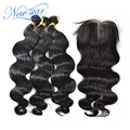 New star hair Brazilian virgin hair with closure, brazilian body wave 3 bundles with a middle part lace body wave closure