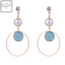 XZP Korean Trendy Geometric Circle Pearl Earrings for Women Wedding Rhinestones Long Dangle Blue Enamel Drop jewelry